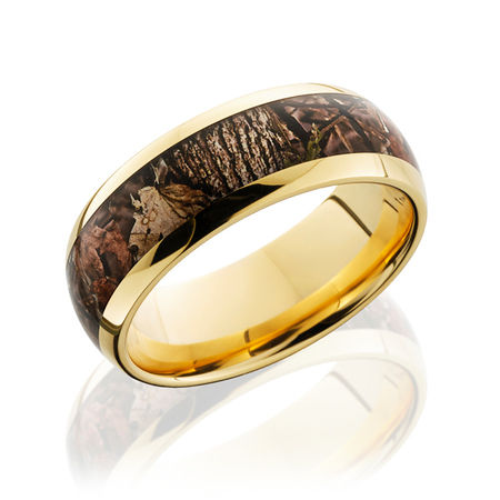 14k yellow gold ring with kings wood camo by lashbrook - Wedding Rings Camo