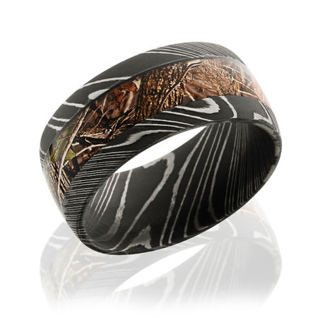 damascus steel ring with kings mountain camo by lashbrook - Orange Camo Wedding Rings