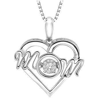 Rhythm of Love Sterling Silver MOM Pendant with Diamonds